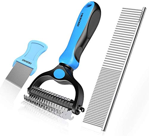 Iokheira Pet Grooming Tools Dematting Comb 2 Sided Undercoat Rake for Dogs and...