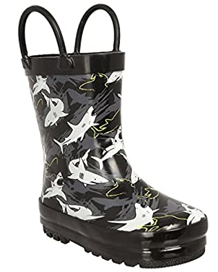 Capelli New York Toddler Boys Shiny Shark Infested Printed Rubber Rain Boot With Handles Black Combo 5