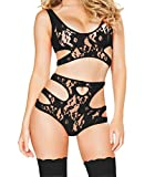 YFFaye Women's Plus Size Sexy Cutout Lace Lingerie Set Black XL