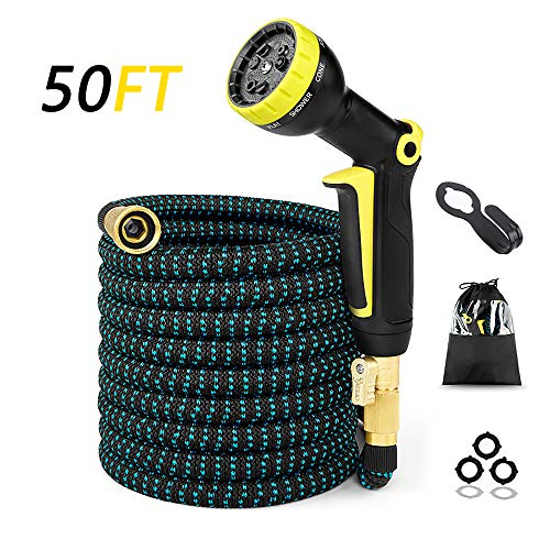 Gardlife 50ft Expandable Garden Hose, Strongest Flexible Water Hose, Extra Strength Fabric, Triple Layer Latex Core, 3/4″ Solid Brass Fittings, 9 Function Spray Nozzle, Lightweight Expanding Hose