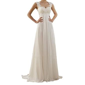 095e907f8a62be Cooljun Damen Brautkleider Hochzeitskleider Lang Weiß Sexy V-Ausschnitt  Rückenfrei Spitzenkleid für Brautjungfer Hochzeit Abend