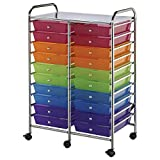 Double Storage Cart W/20 Drawers-25.5x38x15.5 Multicolor