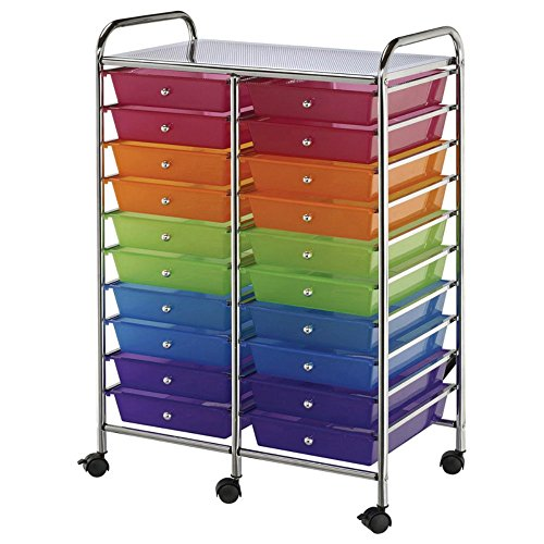 Double Storage Cart W/20 Drawers-25.5x38x15.5 Multicolor by Alvin