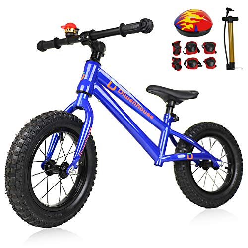 Diwenhouse Kids Balance Bike - Toddler Training Balance Bike No Pedal for Boys and Girls Ages 2 to 6 Years Include 12 inch Inflatable Wheels, Bicycle Pump, Helmet, Bell and Protective Kits (Blue)