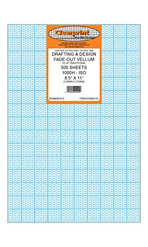 Clearprint 1000H Design Vellum Sheets with Printed Fade-Out 30-Degree Isometric Grid, 16 Lb., 100% Cotton, 8-1/2 x 11 Inches, 500 Sheets (10205710)