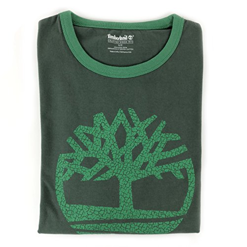 (Timberland Mens Crew Neck Tree Front Logo T Shirt (Olive Green, Large))