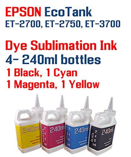 Dye Sublimation Ink 4 Multi Color 240ml bottles - EcoTank ET-2700, ET-2750, ET-3700 by Try The Ink