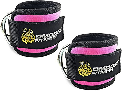 DMoose Fitness Ankle Straps for Cable Machines (Pair) - Stainless Steel Double D-Ring, Adjustable Comfort fit Neoprene, Glute & Leg Workouts - for Women & Men ()