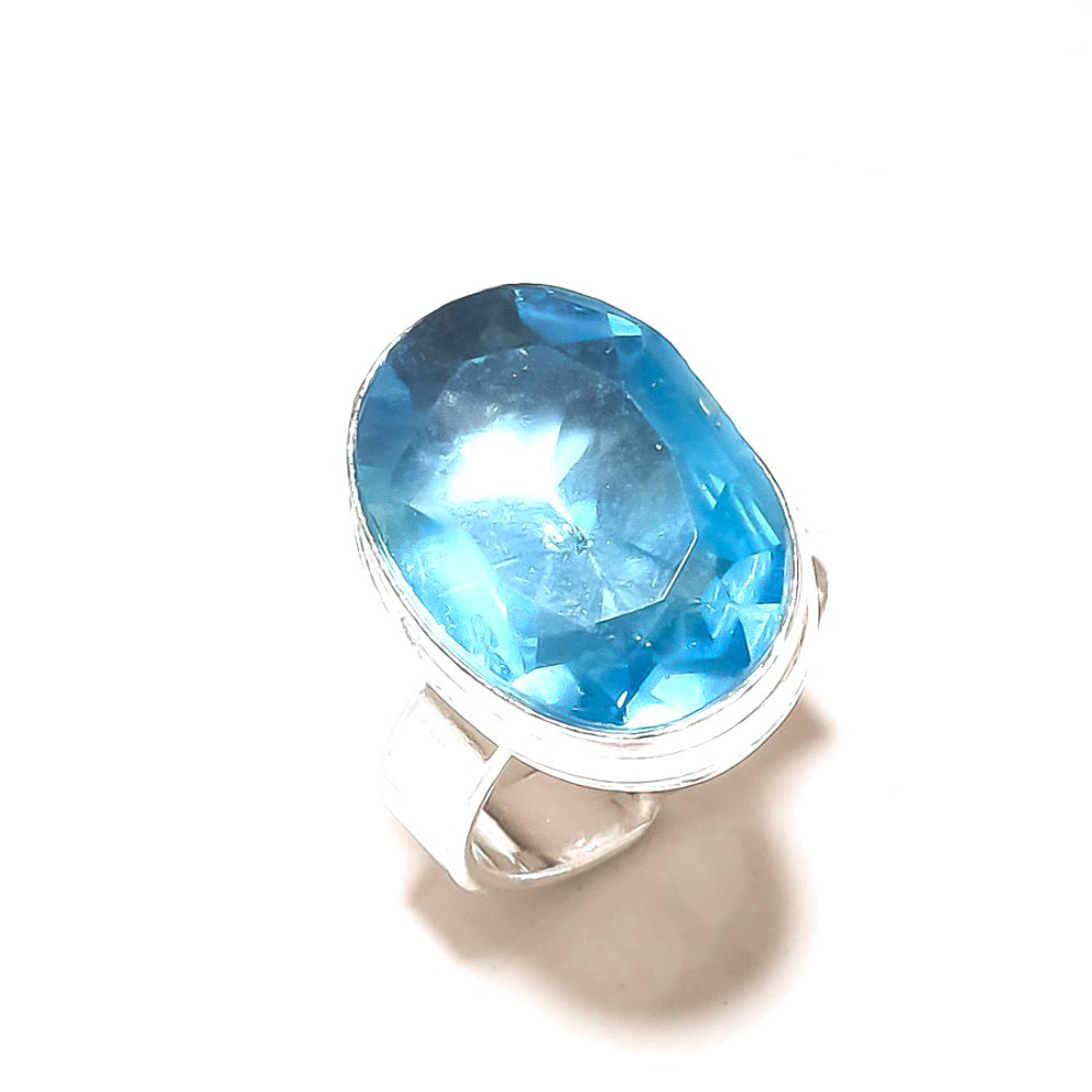 Sizable Blue Topaz Quartz Sterling Silver Overlay Ring Size 5.5 US Ethnic Handmade Jewelry