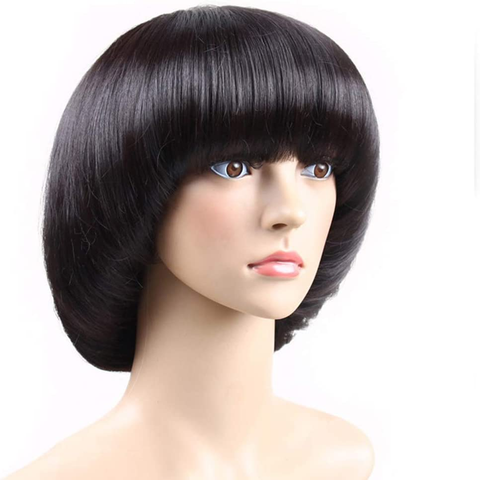 Mushroom Head BOB Wig,Black Afro Hair Wig with Bangs for Coplay