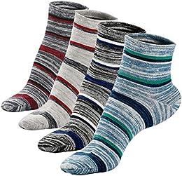 Mens Mini Crew Short Ankle Socks Non-Slip Strips pattern Deodorant Cotton Socks 4Pack