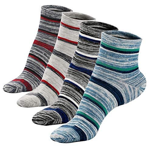 - Mens Mini Crew Short Ankle Socks Non-Slip Strips pattern Deodorant Cotton Socks 4Pack