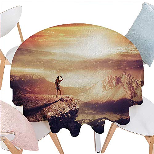 Wildcats Picnic Backpack - BlountDecor Adventure Dinner Picnic Round Table Cloth Traveler Woman with Backpack on Mountain Surveying Sunset Adventure Photo Print Waterproof Round Table Cover for Kitchen D70 Multicolor