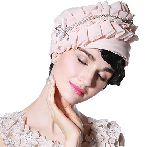 June's Young Women Hat for Summer Bucket Hat Brimless Champagne (Champagne Hat)