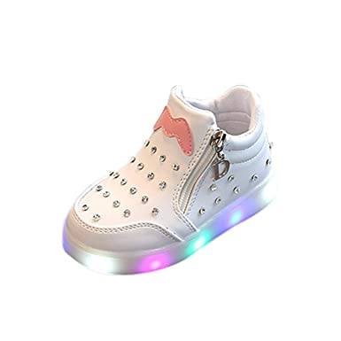 JiaMeng Niños Niños Chicas Zip Crystal LED Light Up Luminous Zapatos de Zapatillas LED Zapatillas de 7 Colores de Luces con USB: Amazon.es: Ropa y ...