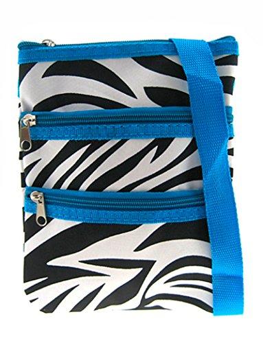Zebra Print Crossbody Bag w/ Blue Trim