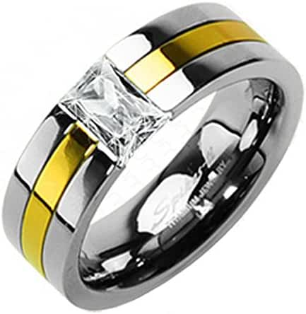 TTNR-0106 Solid Titanium Gold Plated with CZ Stone Ring
