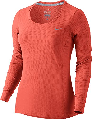 Nike Womens Dri-FIT? Contour Long Sleeve Light Wild Mango/Reflective Silver T-Shirt MD
