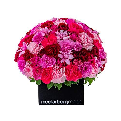 【冷蔵便】 ニコライバーグマン Nicolai Bergmann パッション【フレッシュフラワー】中サイズ キューブアレンジメント 生花 ギフト 贈り物 プレゼント B07SMX42GD