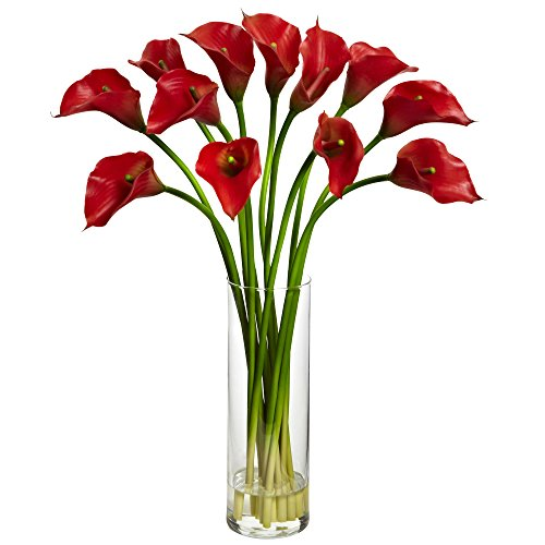 - Nearly Natural Mini Calla Lily Silk Flower Arrangement