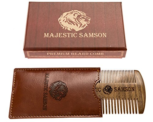 PRIME Beard Comb By Majestic Samson - Wooden Beard Mustache - Hair Comb For Men- Anti-Static Comb Made of Red Sandalwood With Amazing Smell- Fine Touch Comb With Pocket Case- Great Gift Idea by Majestic Samson