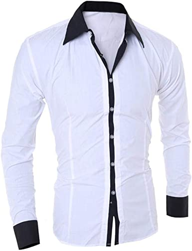 Camisa De Manga Larga Hombre Blusa De para Hombre Modernas Casual Joven Top De Moda para Hombre Camisa De Oficina para Hombre Slim Fit Tops De Hombre: Amazon.es: Ropa y accesorios
