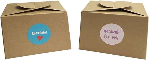 EAST-WEST Trading GmbH - Juego de 12 cajas de cartón natural, incluye 24 pegatinas de regalo para pasteles, galletas, cupcakes y todo tipo de regalos: Amazon.es: Hogar
