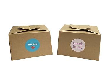 EAST-WEST Trading GmbH - Juego de 12 cajas de cartón natural, incluye 24 pegatinas de regalo para pasteles, galletas, cupcakes y todo tipo de regalos: ...