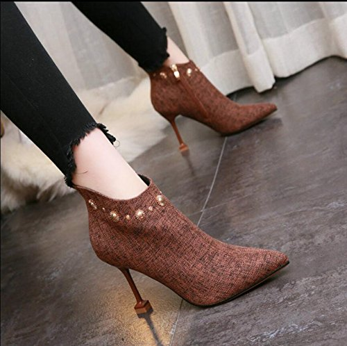 KHSKX-Brown 8.5Cm Sexy Winter New Tip Rivets Side Zipper Boots Fine And Ultra-High Boots With The Girl With The Cat. 34 DCKF3zVody