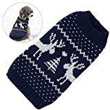 Cheap Petacc Dog Christmas Sweater Pet Holiday Clothes Dog Warm Knitwear with Reindeer Pattern, Suitable for Small Dogs (L)