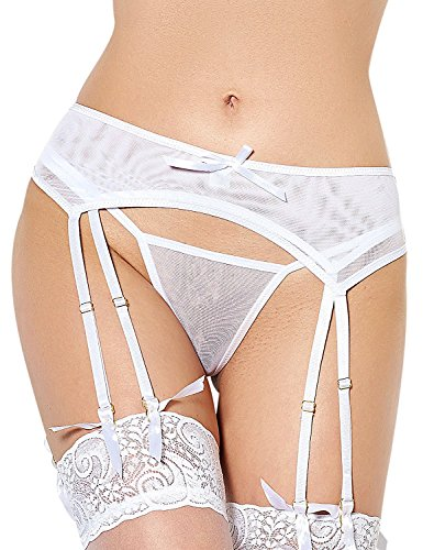 Black Elastic Blousing Garters (T&SE Women's Garter Belts Double Lace with Sexy G-String Plus Size (XL, White))