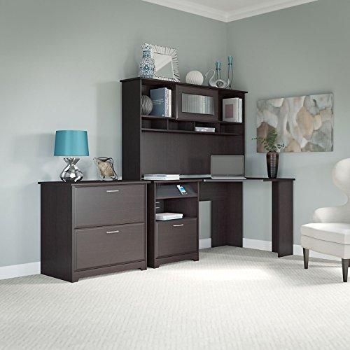 Cabot Corner Desk with Hutch and Lateral File Cabinet in Espresso Oak