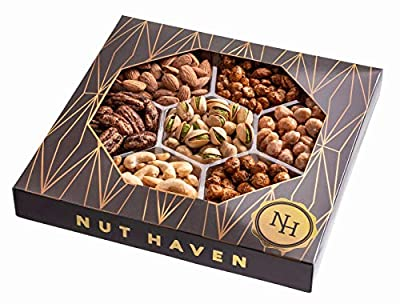 Holiday Nuts Gift Basket   Fresh Sweet & Salty Dry Roasted Gourmet Nuts   Fantastic Gift for Birthday, Sympathy, Mother's Day,   Variety of 7 Sweet & Salty Nuts Tray by Nut Haven