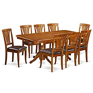 East West Furniture NAAV9-SBR-LC 9-Piece Formal Dining Table Set