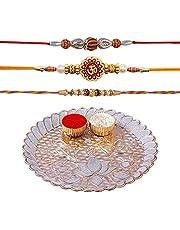 Hathkaam 5PC Rakhi Set for Brother & Bhabhi 3Pc Rakhee for Bhai Bhaiya Happy Raksha Bandhan Premium Quality Handcrafted by Women Artisans Love from Sister Decorative Hamper