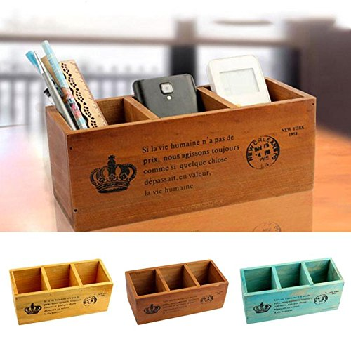 3 Grid Vintage Wooden Desktop Storage Box Solid Wood Cosmetics Remote Control Holder Decorative Wood Organizer Case V3 Katoot (blue)