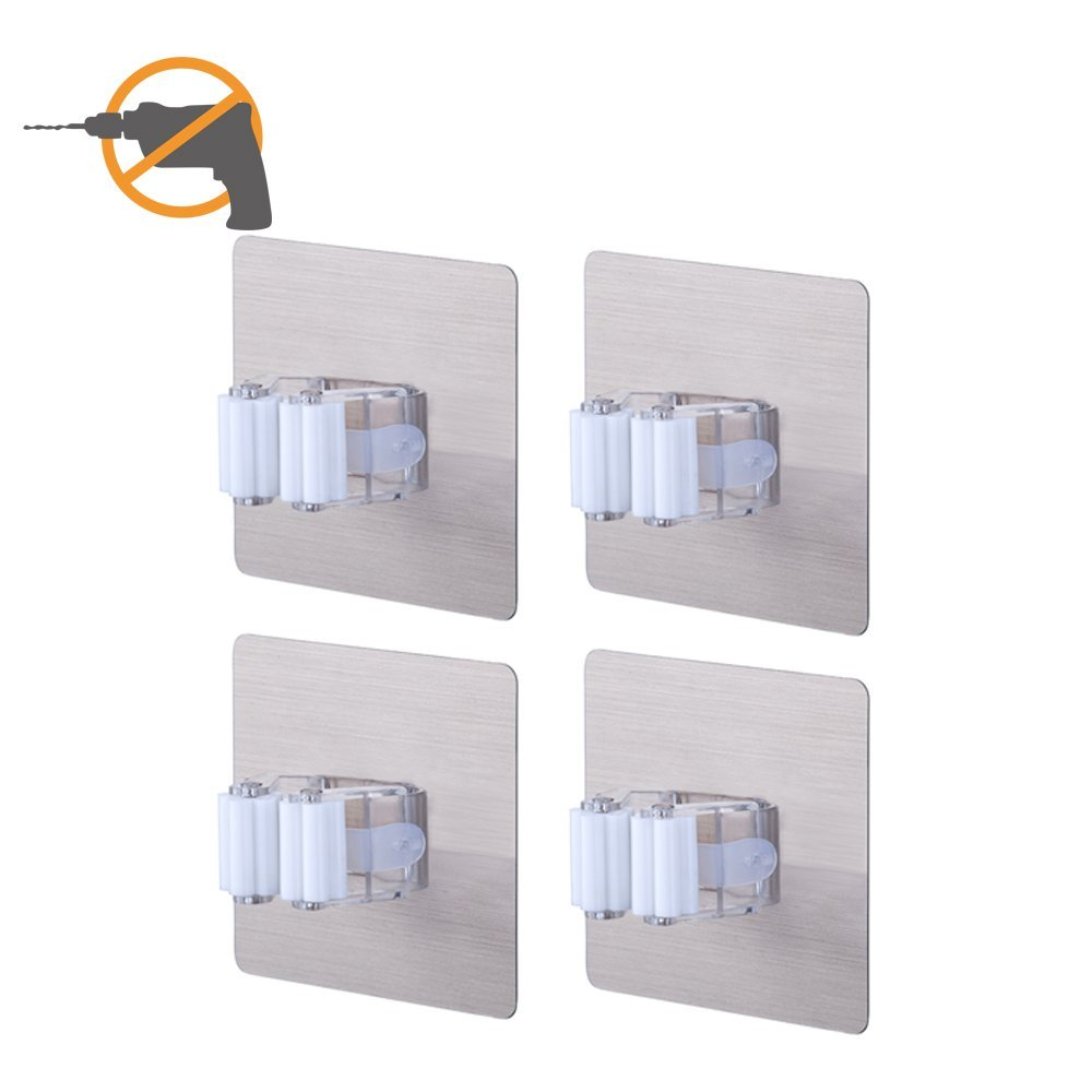 Broom Mop Holder LAUNGDA Wall Mount Tools Storage Home Organization Self Adhesive No Drilling Clip Grip Pack of 4 LD170205P4