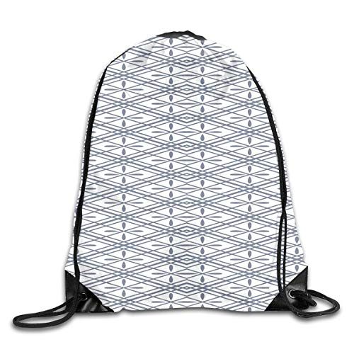 (Drawstring Backpacks Bags,Floral Arrangement Pattern With Rhombus Shapes With Lines Crosses Symmetrical,5 Liter Capacity,Adjustable )