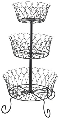 Carol Wright Gifts 3-Tier Wire Basket,Black,One Size Fits All (Wire Tiered)