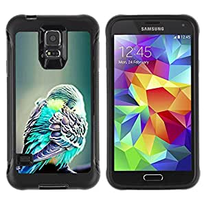 Paccase / Suave TPU GEL Caso Carcasa de Protección Funda para - bird green exotic tropical green feather - Samsung Galaxy S5 SM-G900