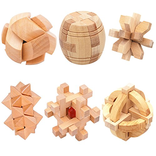 3D Wooden Puzzles IQ Test Intelligence Game for Children Kids Adult Geometric Educational Learning Brain Logic Teaser Anxiety Release Toy Kongming Lock Puzzle Cube 6 pcs