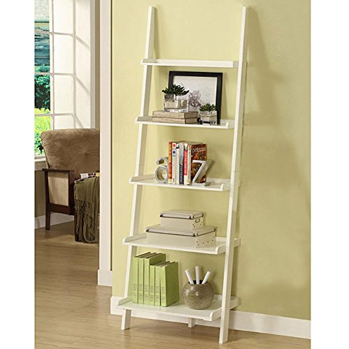 White Five-tier Leaning Ladder Shelf Made With Solid Wood and MDF