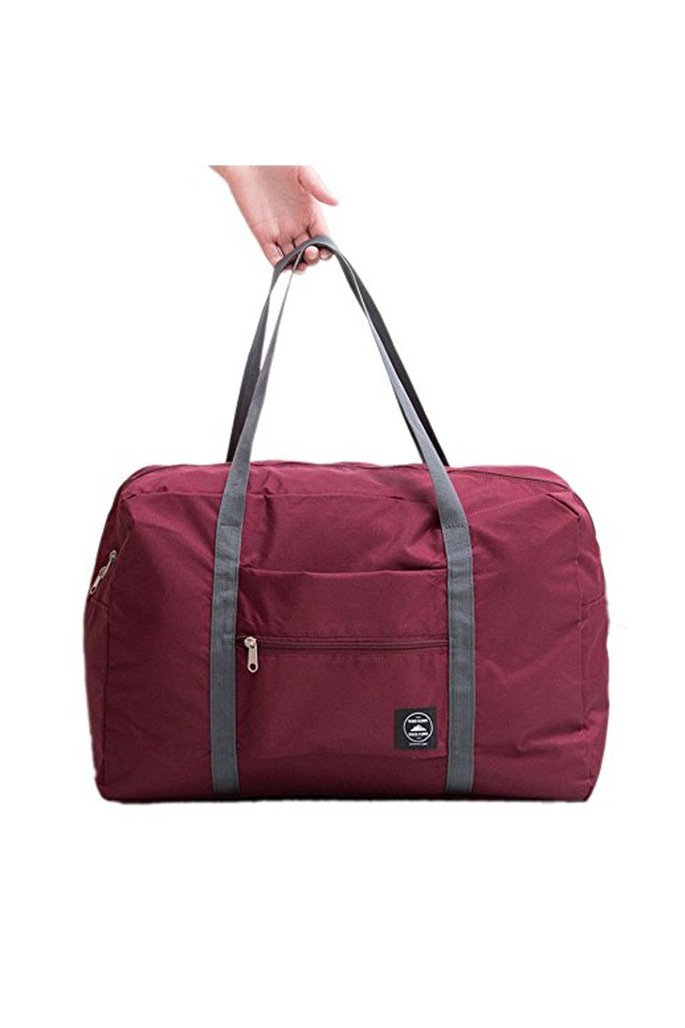 BLAU GRUN Travel Lightweight Waterproof Foldable Storage Tote Bag Carry Luggage Handbag Wine Red