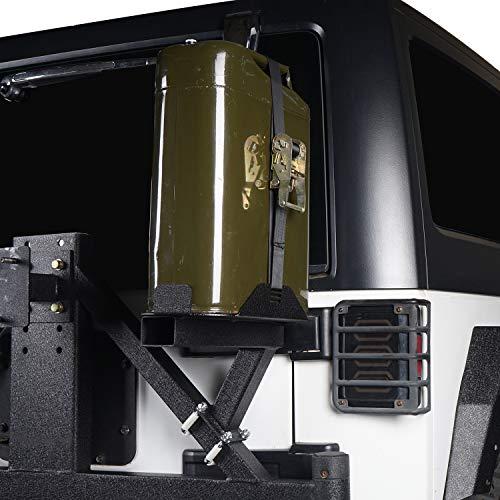 Hooke Road 5.3 Gallon Jerry Can Holders for Rear Spare Tire Swing Arm, 07-18 Jeep Wrangler JK&JKU (Carrier Tire Lockable Spare)