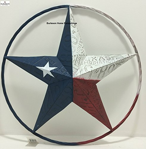 Texas Flag Painted Metal Star Wall Hanging Home Decor Rustic Western ()