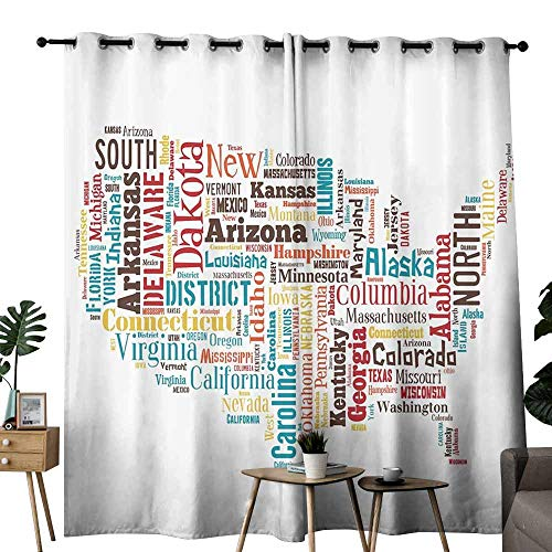 Americana for Home Decorations Collection Bathroom Curtain USA United States America Map Cities and Towns California Missouri Virginia Wedding Party Home Window Decoration W96 xL84 Teal Brown -
