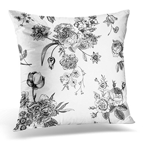 Pillow Bouquet Top (UPOOS Throw Pillow Cover Floral Vintage with Victorian Bouquet of Black Flowers on White Garden Roses Tulips Delphinium Petunia Decorative Pillow Case Home Decor Square 18x18 Inches Pillowcase)