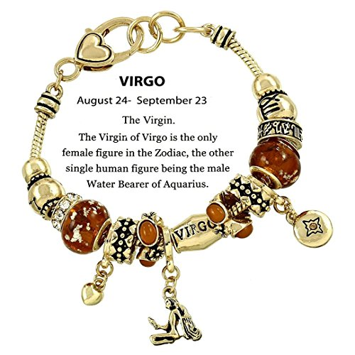 Virgo Charm Bracelet C52 Clear Crystal Amber Murano Glass Zodiac August September Gold Tone - Amber Murano Glass Crystal