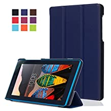 "Case 7.0""Lenovo Tab3 7 Protective Cover,Lenovo Tab3 7-inch Tablet Case,7inch Lenovo Tab3 Case Cover,[Scratch Resistant][Luxury PU Leather]Flip Cover Folding Case Cover for 7-Inch Lenovo Tab3 Case-Dark blue"