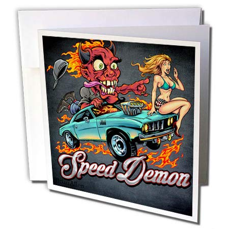 3dRose Flyland Designs - Dark, Devil, Cartoon, Car, Illustration - Speed-Racing Demon with a hot Girl on his hot Rod. - 12 Greeting Cards with envelopes (gc_295913_2)